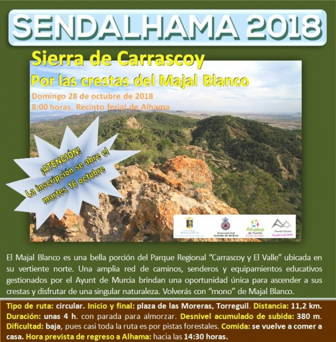 Registration for Sendalhama walks on 28th October and 11th November opens on October 16th