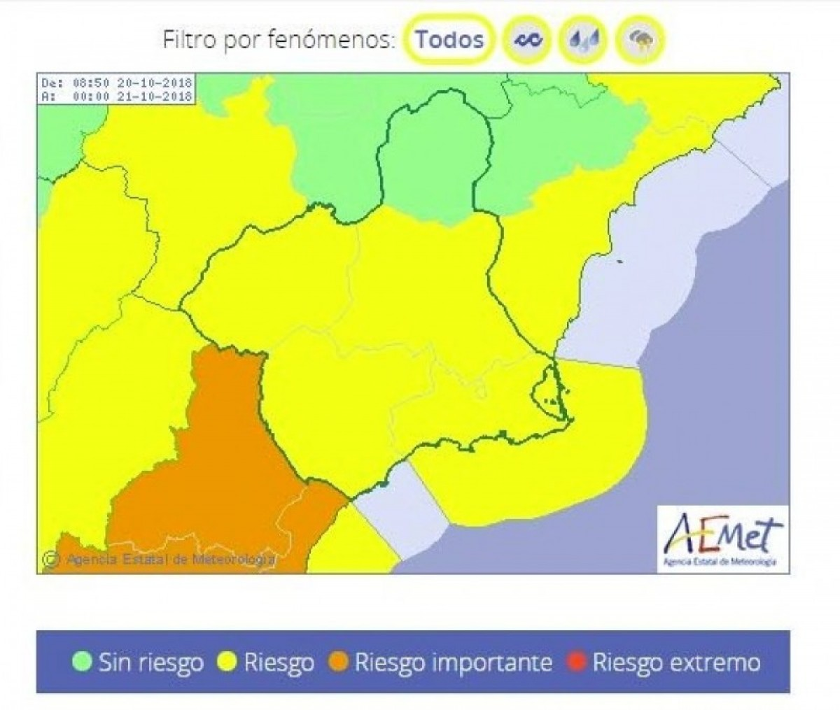 Aemet reduces storm alert risk to yellow on Saturday and Sunday