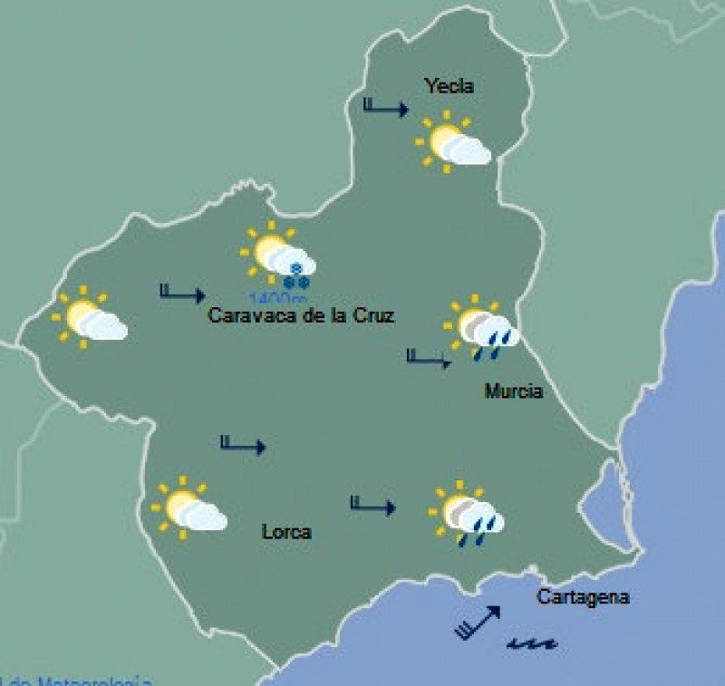 Yellow alert for strong winds on the Costa Cálida on Monday