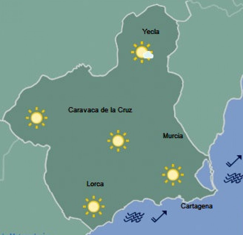 Sunshine to return to the Costa Cálida on Tuesday, cold early morning temperatures inland