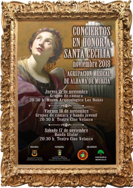 15th, 16th and 17th November free concerts in honour of Saint Cecilia in Alhama de Murcia