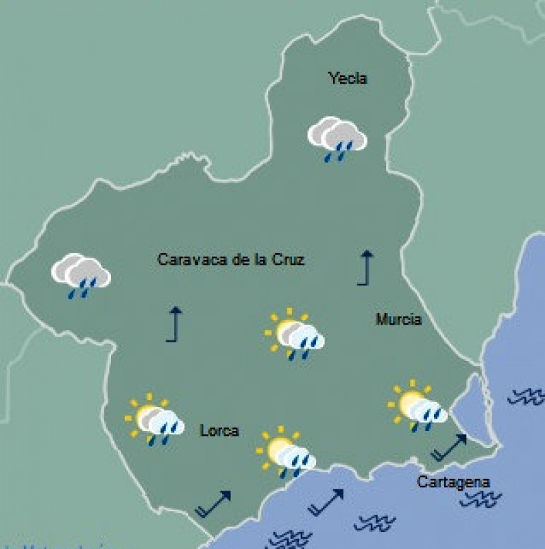Rain on its way to Murcia on Thursday afternoon