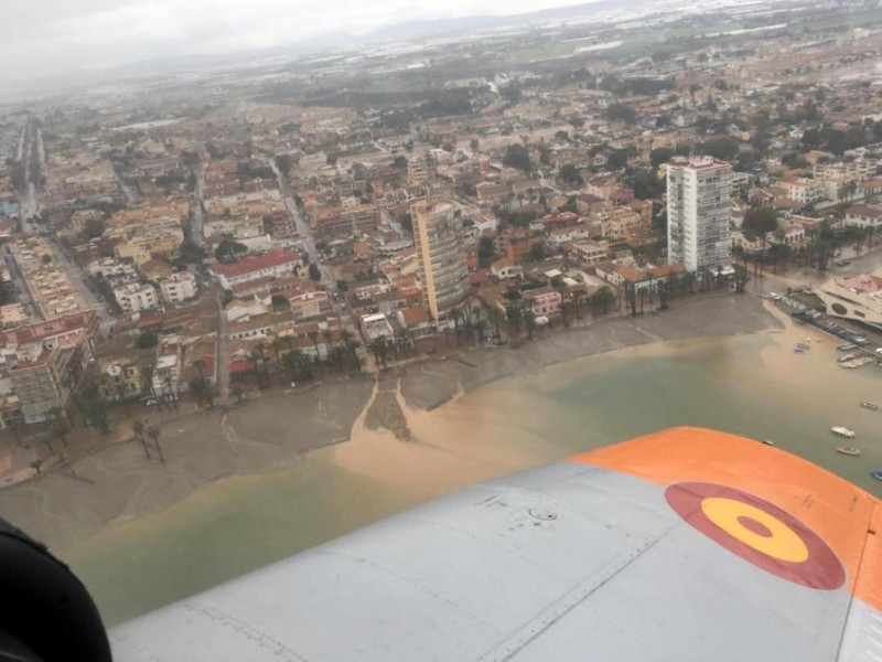 Fantastic aerial photos show floodwater in San Javier and the effect on the Mar Menor