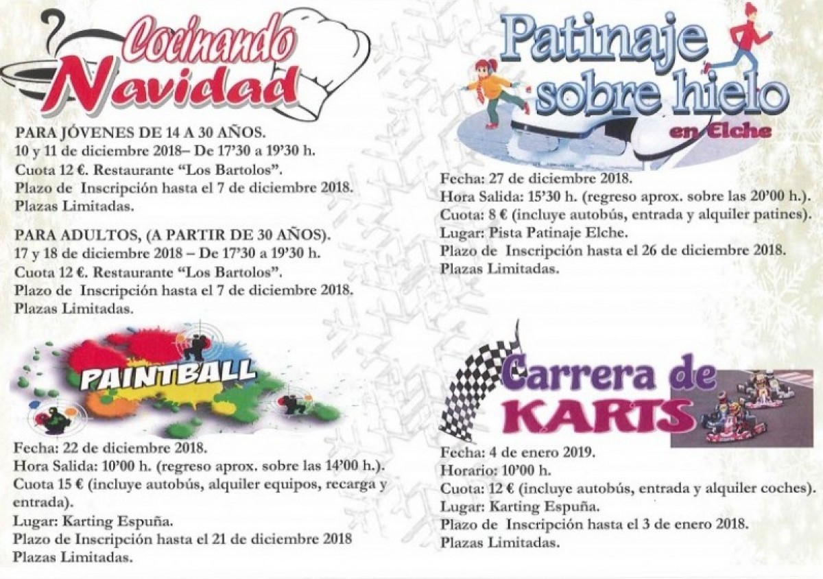 Seasonal activities for young people in Alhama de Murcia