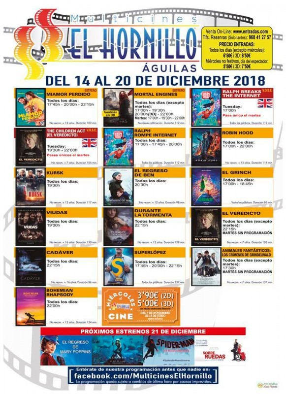 18th December English language cinema at the Multicines Hornillo in Águilas