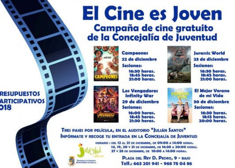 Until 30th December, free cinema for young people in Jumilla