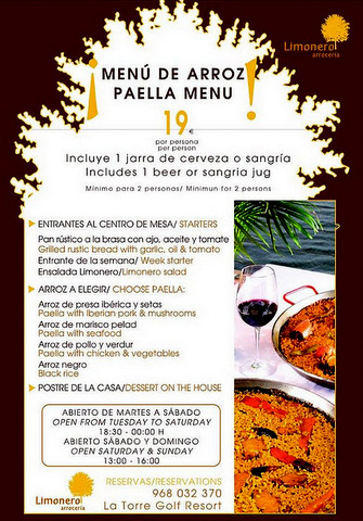 Paella on La Torre Resort this summer