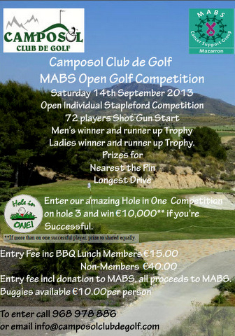 <span style='color:#780948'>ARCHIVED</span> - 14th September, MABS charity golf competition, Camposol Golf Club