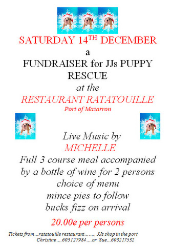 <span style='color:#780948'>ARCHIVED</span> - Saturday 14th December, JJs Puppy Rescue fundraiser meal