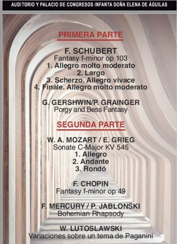 <span style='color:#780948'>ARCHIVED</span> - 18th January Águilas Chamber music with piano due at the Infanta Elena Águilas