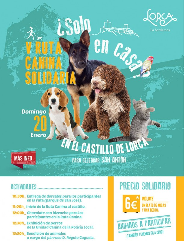 Sunday 20th January Charity dog walk and doggy day in Lorca castle