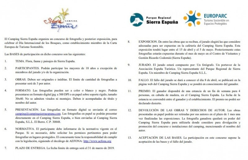 Until 20th March, wildlife photography competition in Sierra Espuña