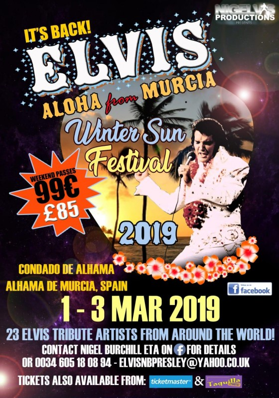26th February to 3rd March 2019 Elvis Winter Sun Festival Alhama de Murcia