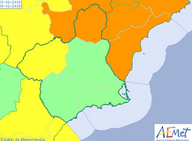 Winds of up to 90 km/h in northern Murcia on Wednesday