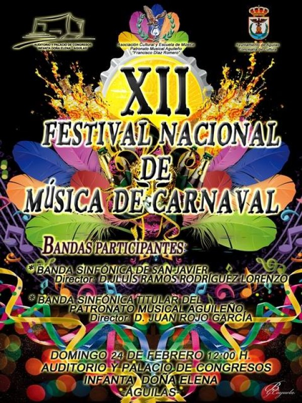 <span style='color:#780948'>ARCHIVED</span> - 24th February Free entry carnival bands concert in the Auditorio Infanta Elena