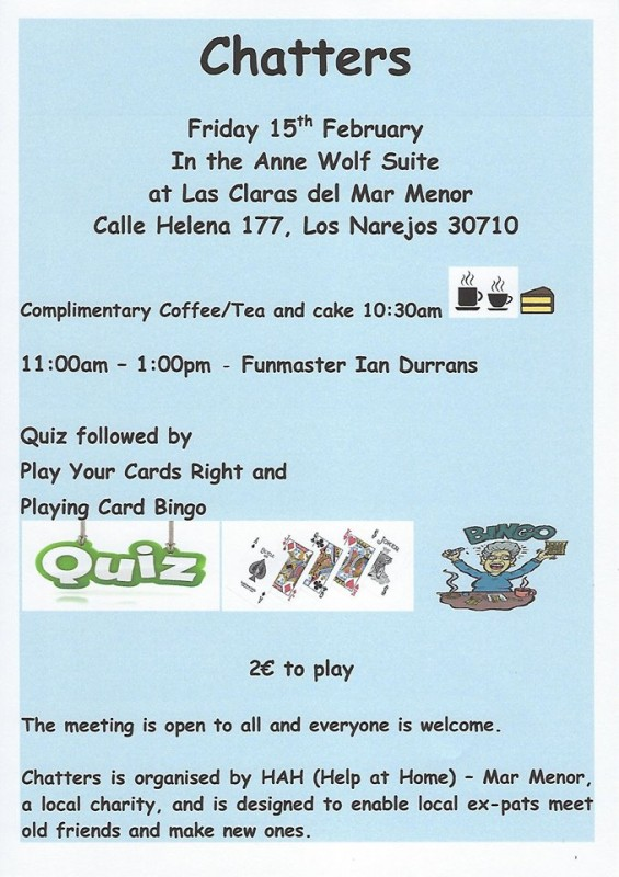 Friday 15th February Chatters social group at the Las Claras Centre in Los Alcázares