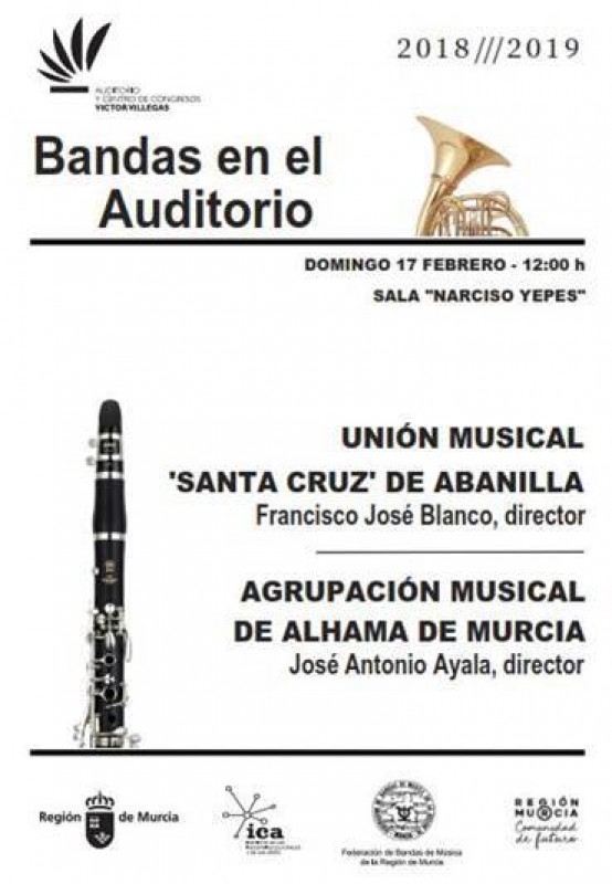 <span style='color:#780948'>ARCHIVED</span> - 17th February, Abanilla and Alhama town bands at the Auditorio Víctor Villegas in Murcia