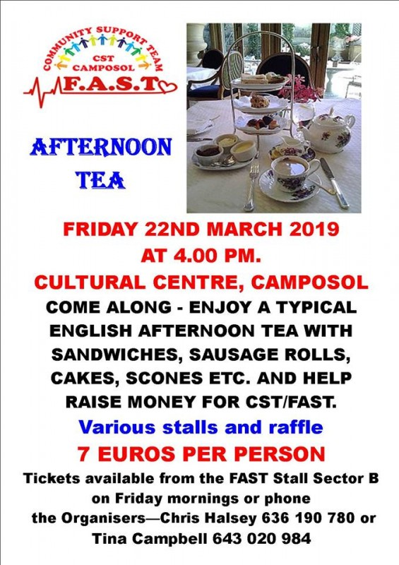 Friday 22nd March FAST Fundraiser Afternoon Tea on Camposol