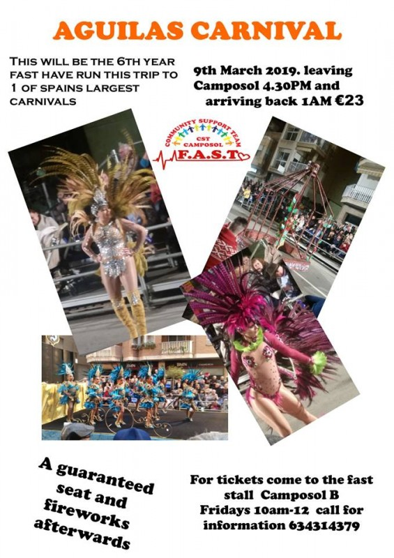 9th March FAST coach trip to Águilas Carnival leaving from Camposol