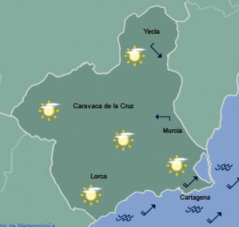 <span style='color:#780948'>ARCHIVED</span> - 25 degrees forecast for Thursday in the city of Murcia