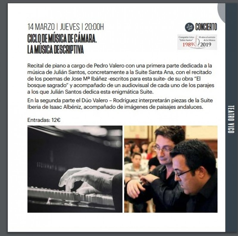 <span style='color:#780948'>ARCHIVED</span> - Thursday 14th March chamber music at the Teatro Vico in Jumilla