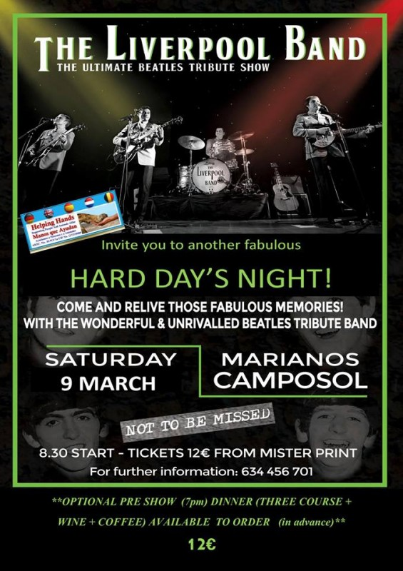 <span style='color:#780948'>ARCHIVED</span> - 9th March Beatles tribute night fundraiser for Helping Hands on Camposol