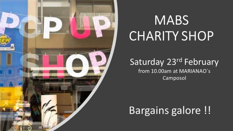 23rd February MABS Cancer support pop up shop on Camposol
