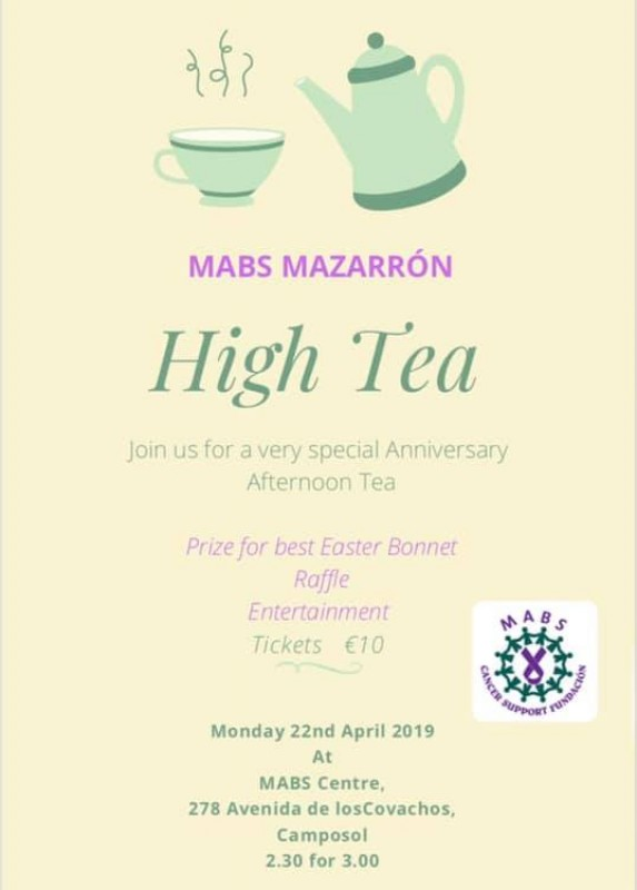 <span style='color:#780948'>ARCHIVED</span> - Monday 22nd April MABS Mazarrón high tea on Camposol