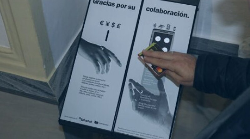 Swipe card machines alongside collection plates at churches in the Diocese of Cartagena