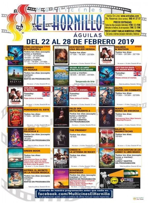 26th February ENGLISH language cinema at the Multicines El Hornillo in Águilas