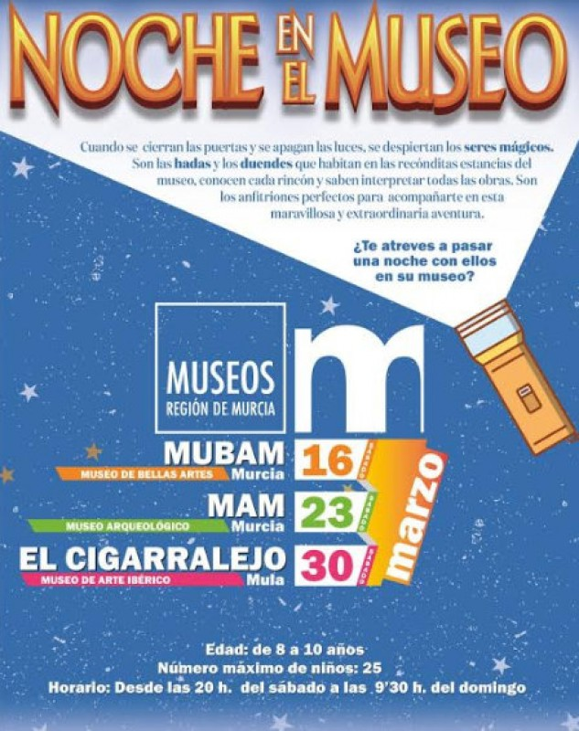 <span style='color:#780948'>ARCHIVED</span> - Overnight sleepovers in Murcian museums for children in Murcia and Mula