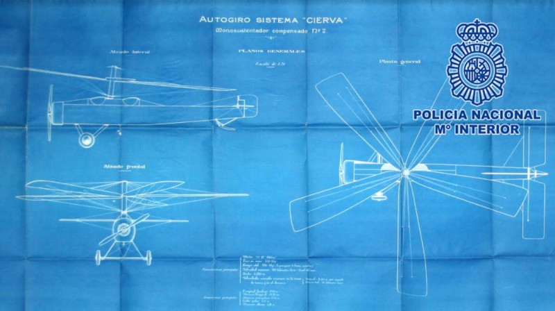 Documents recovered relating to the autogyro, after whose inventor Corvera airport is to be named