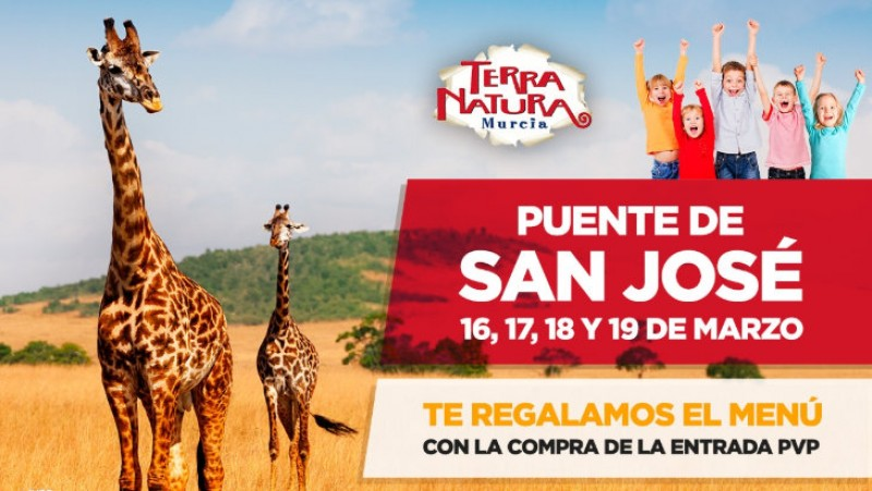 16th to 19th March, free lunch menu for visitors to Terra Natura Murcia wildlife park