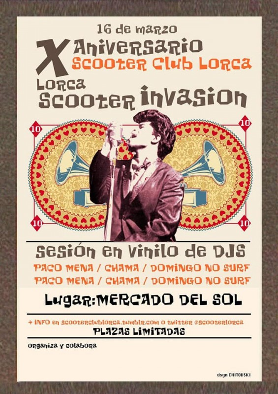 16th March Scooter invasion in Lorca: 10th anniversary of the Lorca Scooter club