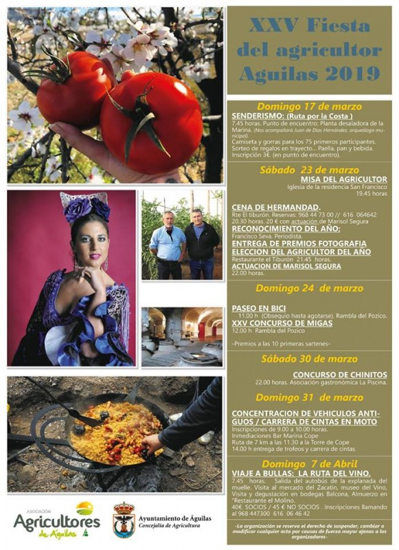 17th March to 7th April Fiestas of local agriculturalists in Águilas