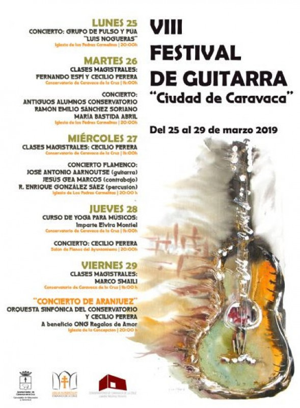 25th to 29th March, five free guitar concerts in Caravaca de la Cruz