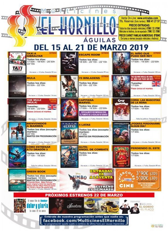 Tuesday 19th March ENGLISH language cinema at the Multicines El Hornillo in Águilas