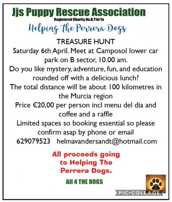 <span style='color:#780948'>ARCHIVED</span> - 6th April Treasure Hunt for JJs Puppies and Helping the Perrera Dogs