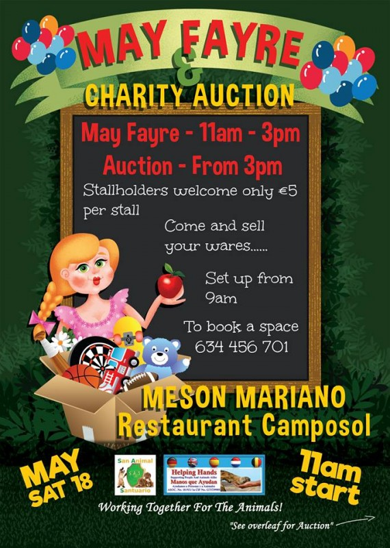 Saturday May 18th: May Fayre and Charity Auction on Camposol