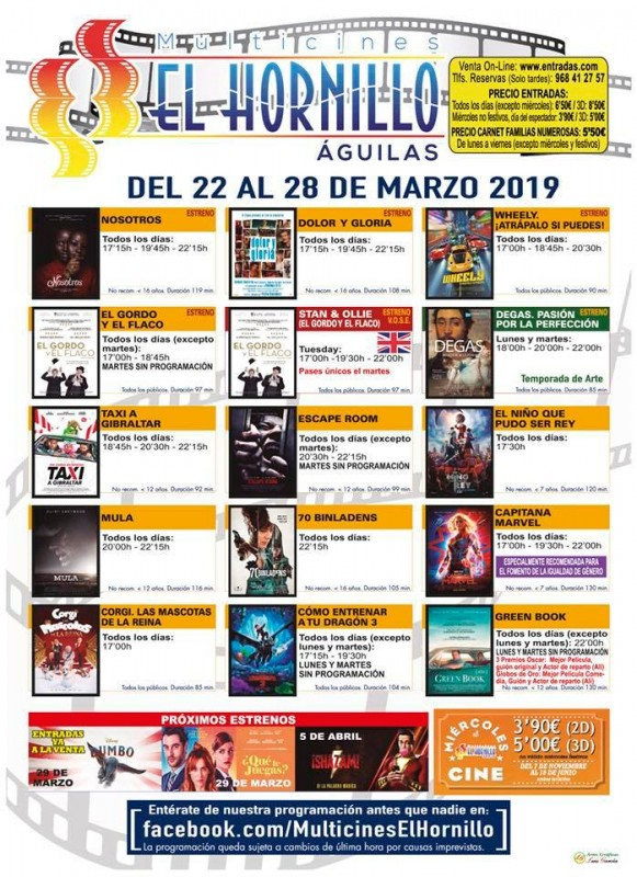 Tuesday 26th March ENGLISH language cinema at the Multicines El Hornillo in Águilas