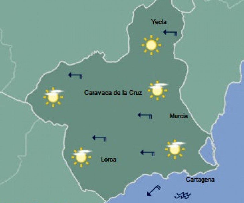 Warm and sunny in the Costa Cálida but snow could fall in the mountains later this week