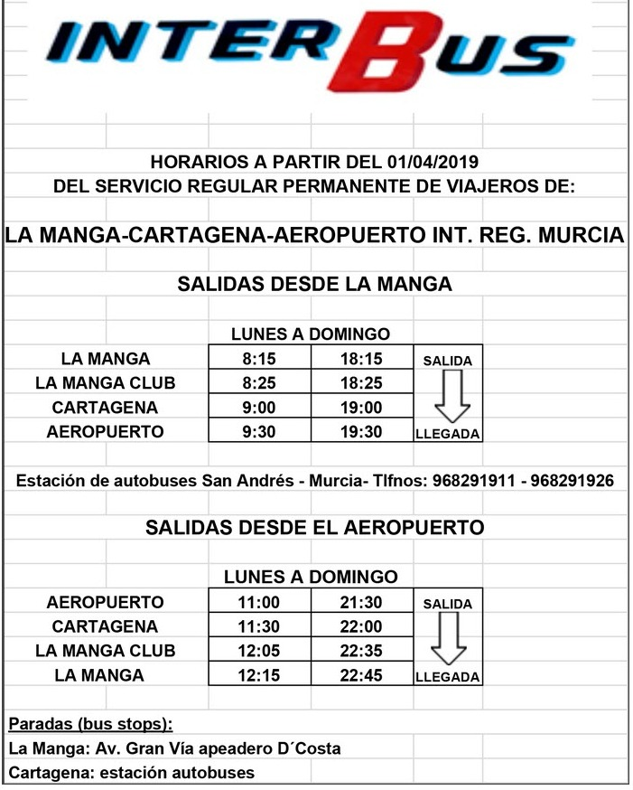 Murcia Today - Bus Routes And Taxi Information From Corvera