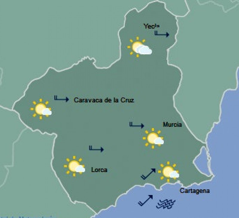 <span style='color:#780948'>ARCHIVED</span> - Up to 27 degrees in Murcia on Wednesday!