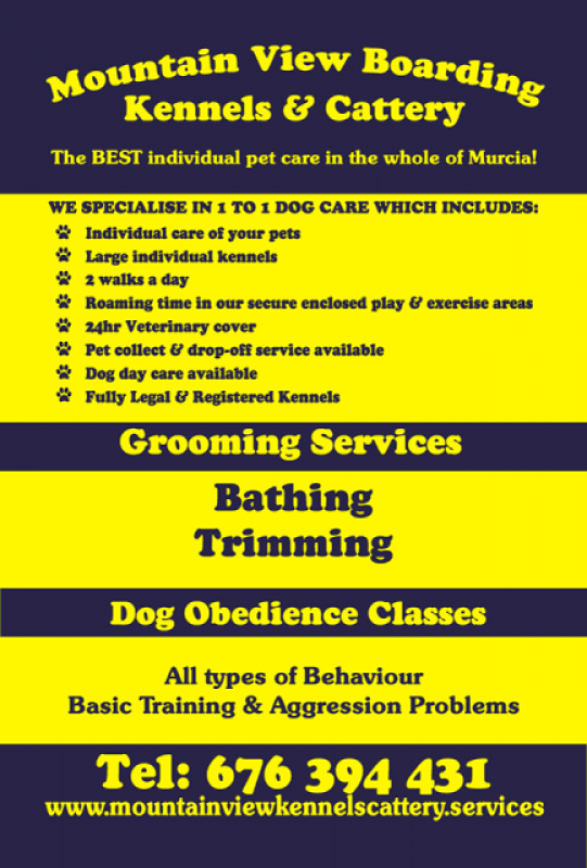 Mountain View Kennels, Dog kennels and cattery, dog training and grooming in Fuente Álamo