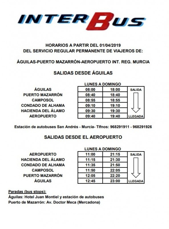 Bus timetable Águilas to Corvera airport spring 2019