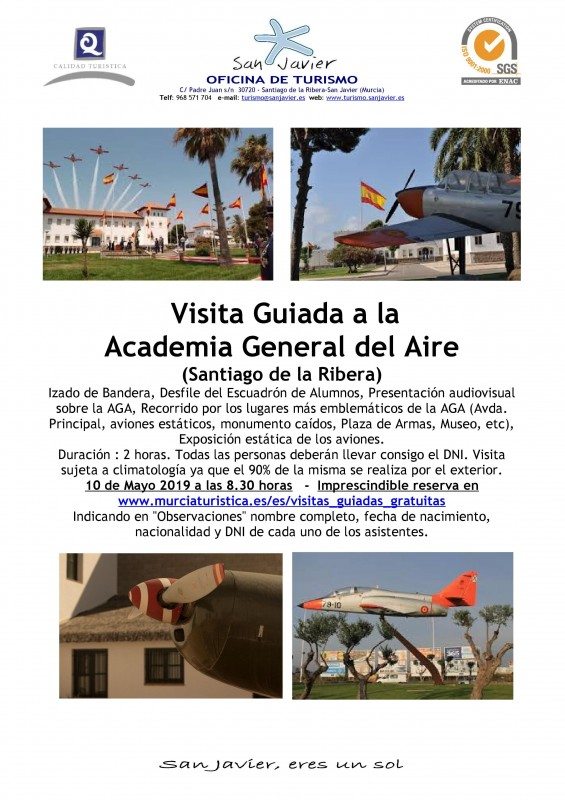 10th May free guided tour of San Javier Air Academy