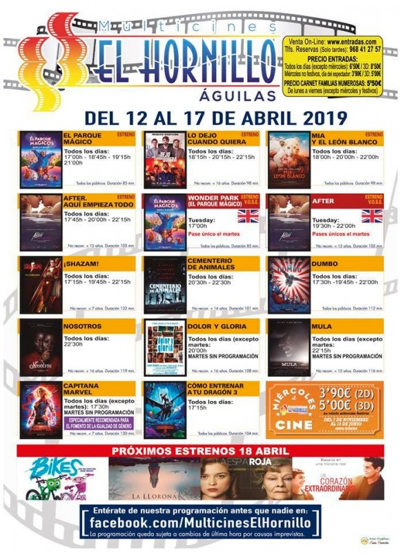 Tuesday 16th April ENGLISH language cinema at the Multicines El Hornillo in Águilas