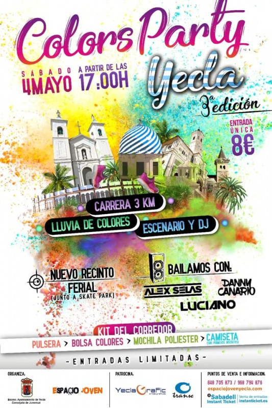 <span style='color:#780948'>ARCHIVED</span> - 4th May Yecla Colors Party fun run and party