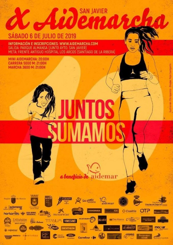 Saturday 6th July Aidemarcha San Javier: run 5km or walk 3km for the Mar menor charity Aidemar