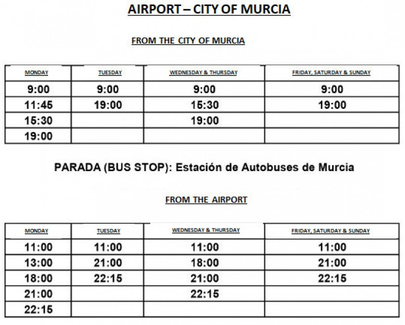 Public bus routes and timetables to and from the Region of Murcia International Airport in Corvera